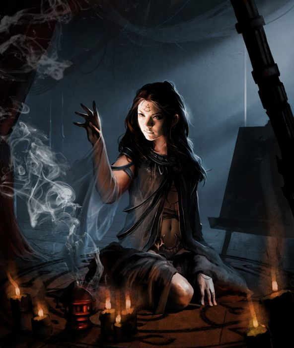 witch fantasy dress long hair beautiful girl face portrait wallpaper