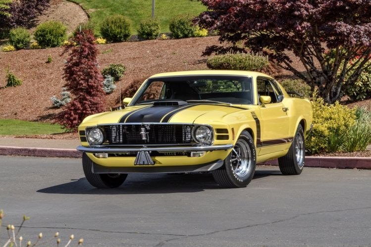 1970 Ford Mustang Boss 302 with shaker hood scoop option wallpaper