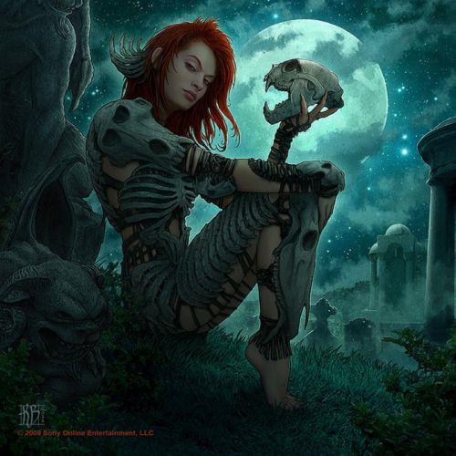 Defiler Moon fantasy girl woman wallpaper