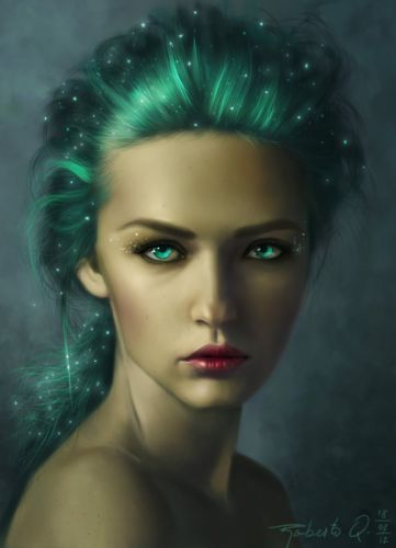 fantasy girl woman portrait green eyes beautiful wallpaper