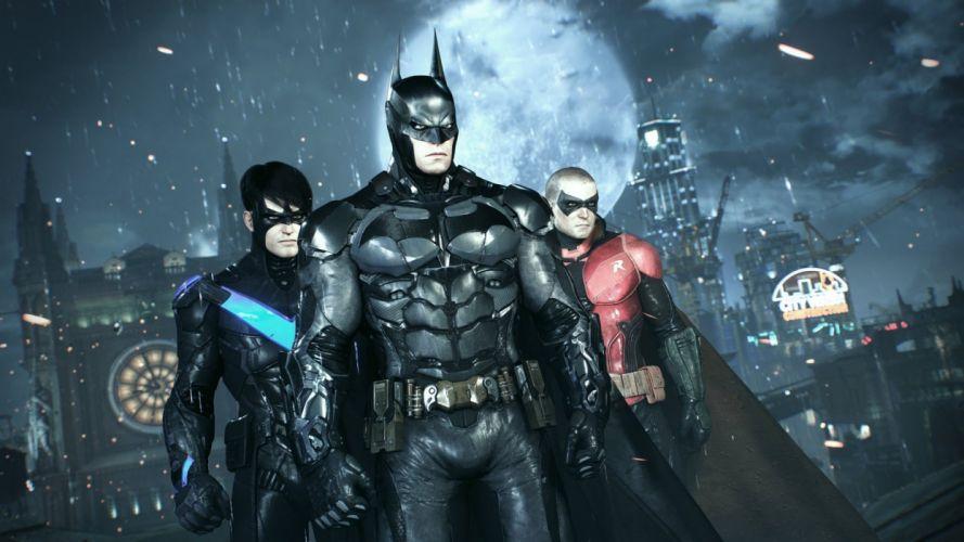 BATMAN ARKHAM KNIGHT superhero dark action adventure fighting shooter wallpaper
