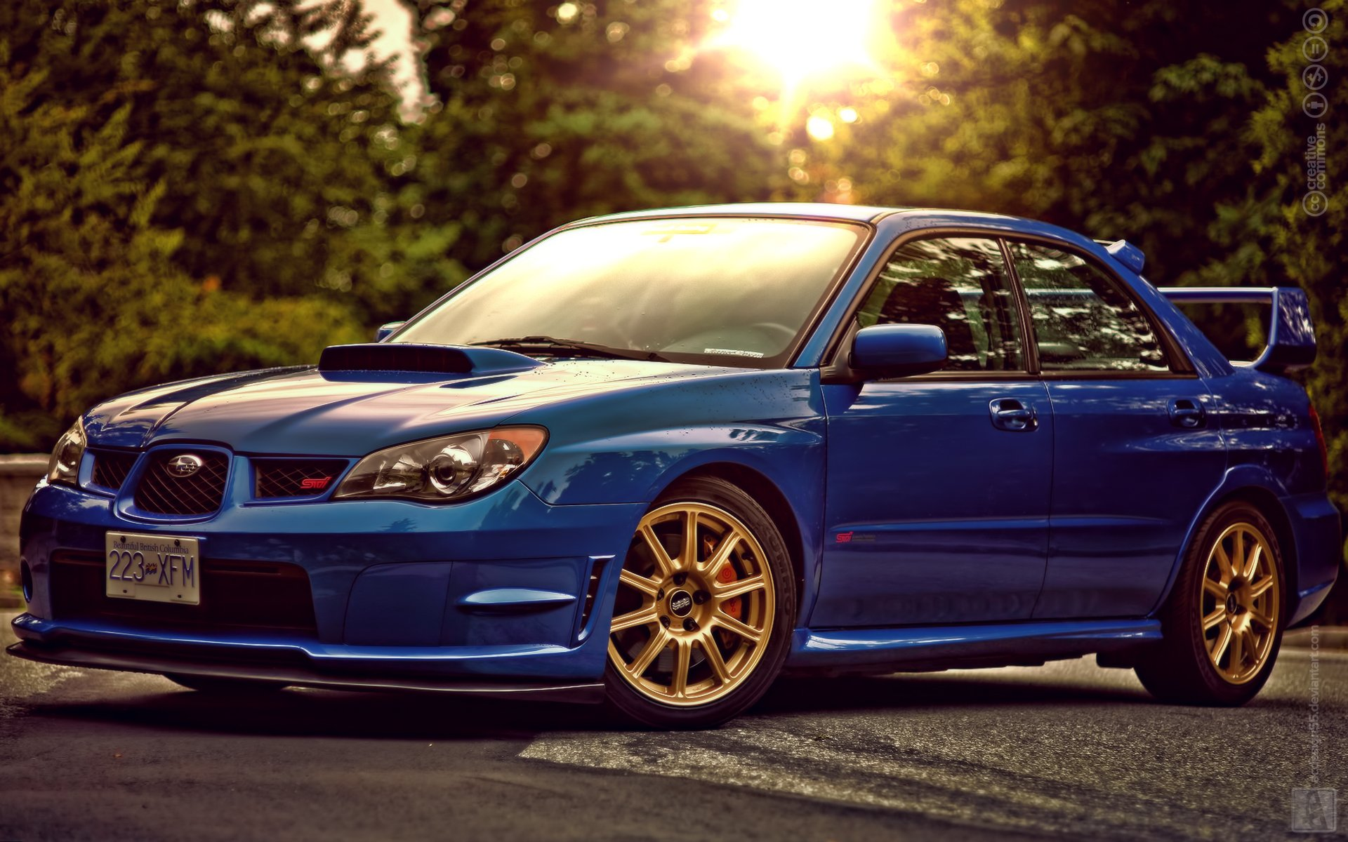 subaru impreza wrx sti blue wallpaper 1920x1200 747275. Black Bedroom Furniture Sets. Home Design Ideas