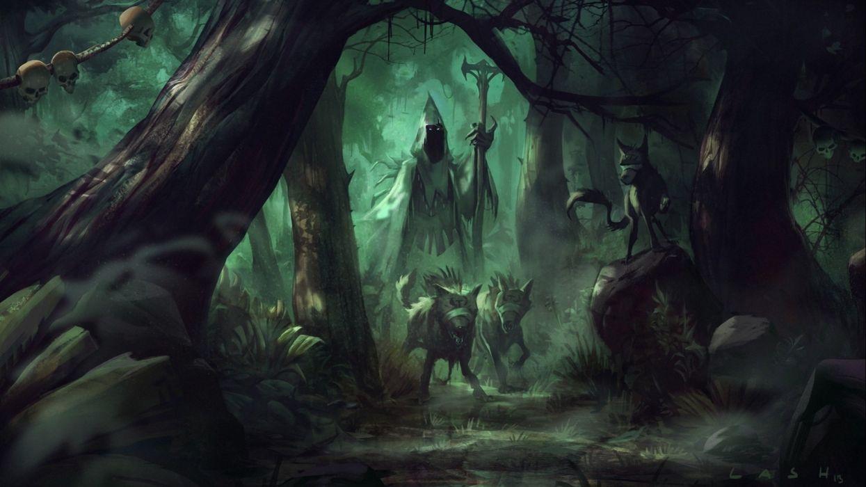 fantasy artork witch wizard sorcerer magic evil wallpaper
