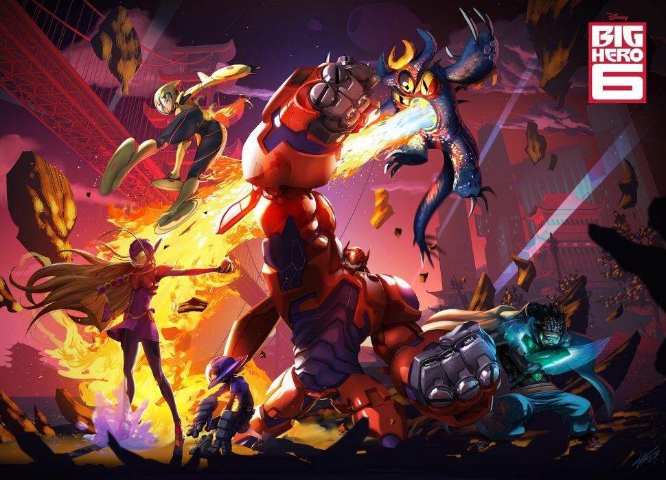 BIG-HERO-6 animation action adventure disney robot superhero big hero futuristic poster wallpaper