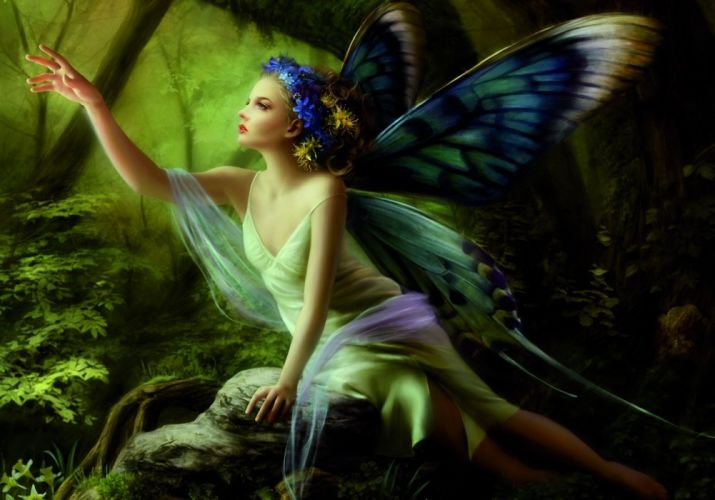 Arts hand sitting forest stone fairy butterfly wings girl wallpaper