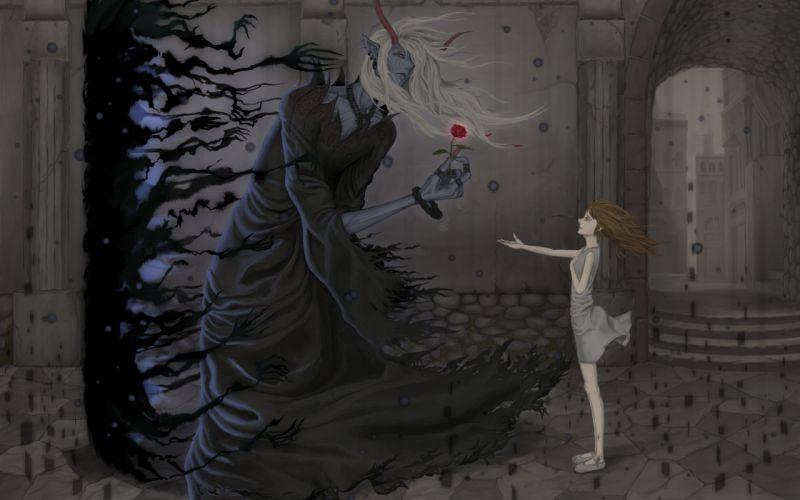 Arts horns flower the wind demon girl wallpaper