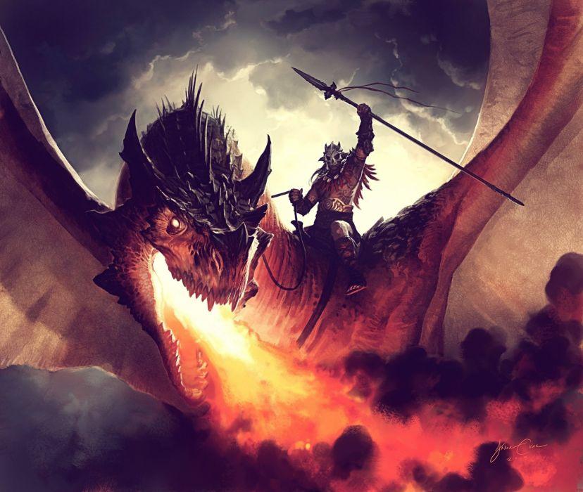 Arts jason chan fire dragon rider wallpaper