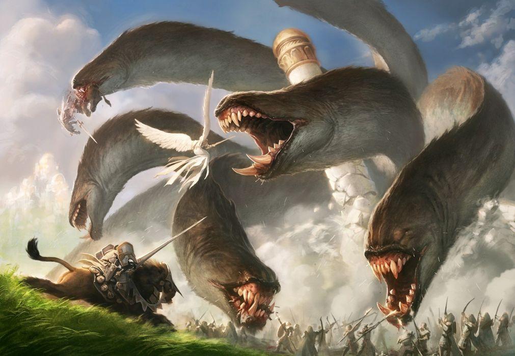 Arts people monster hydra battle tower angel jason chan wallpaper