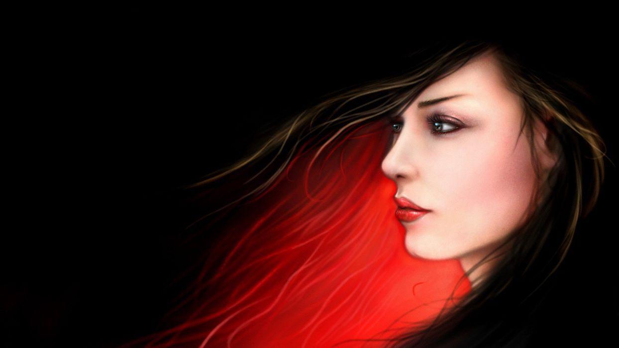 Arts profile faces dark red wallpaper