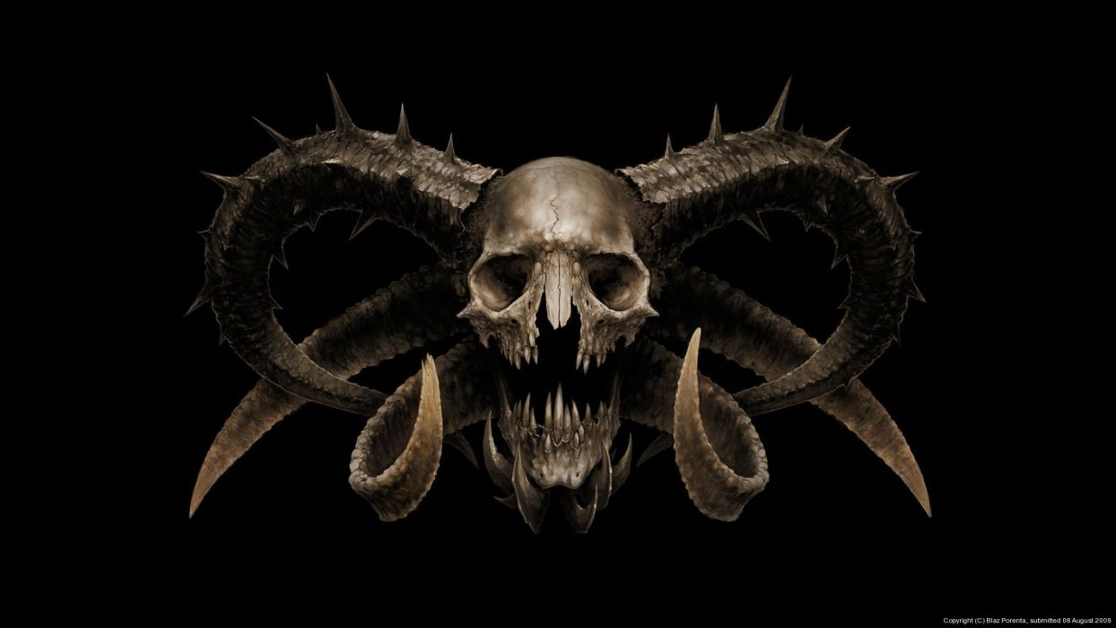 Arts skull the devil horns fear skull horror wallpaper