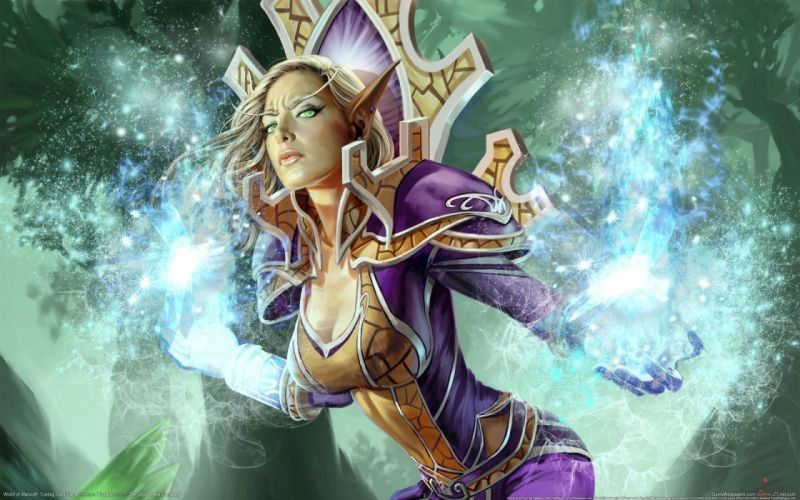 Arts world of warcraft magic girl trading card game elf wallpaper