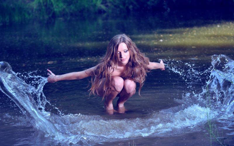Photography river spray water girl splash wallpaper