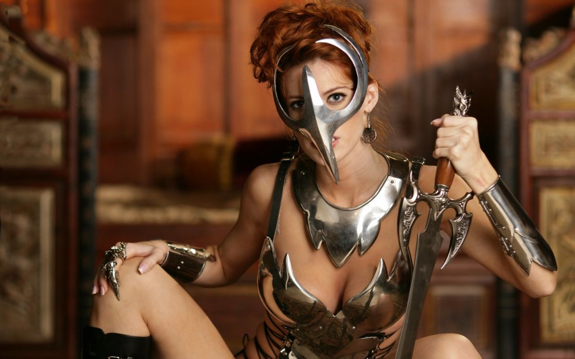 warrior armor sword mask women girls wallpaper