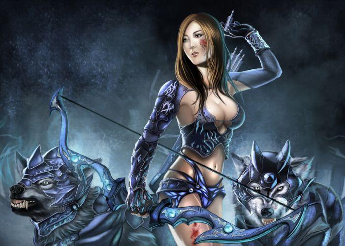 warrior wolves armor arrows bow girl wallpaper
