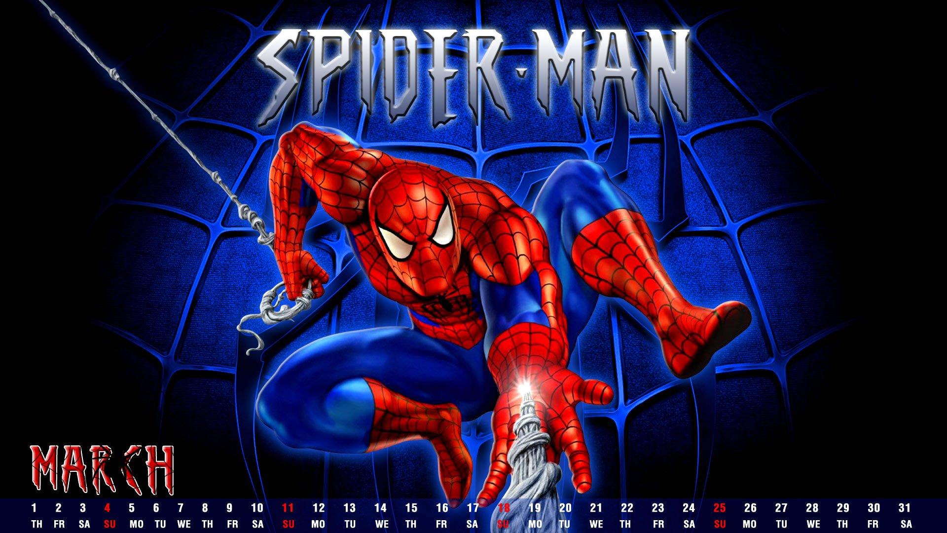 Wallpaper Calendar Superhero : Spider man superhero marvel action spiderman
