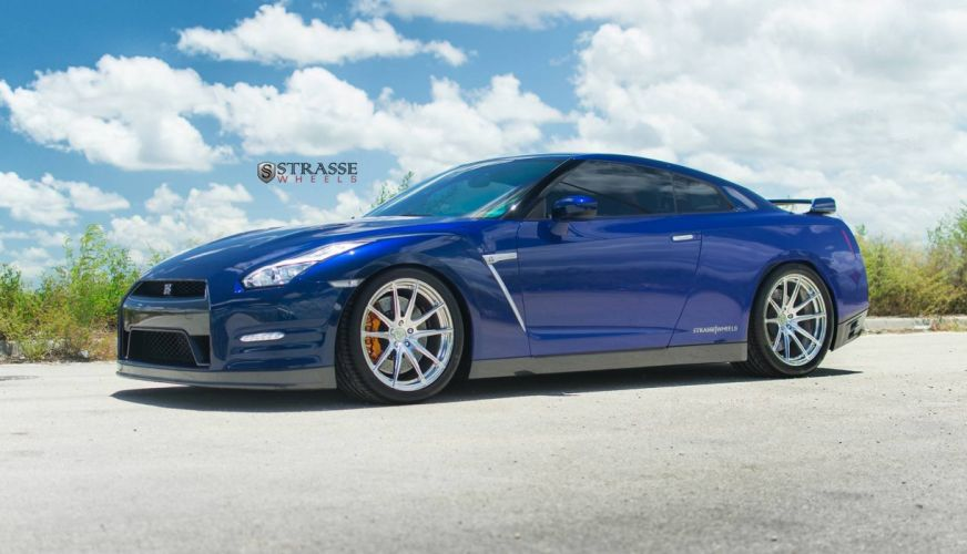 Blue Nissan GT-R coupe cars Strasse Wheels wallpaper