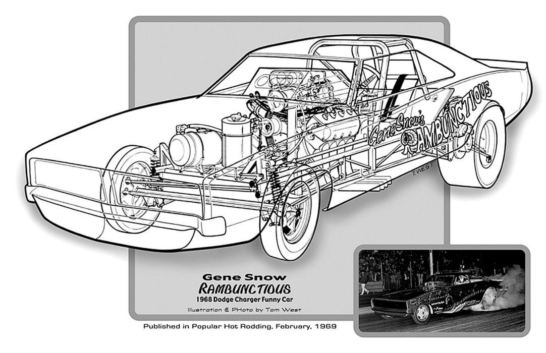 1968 Dodge Charger Funny Car Drag Cutaway Usa 01 Wallpaper