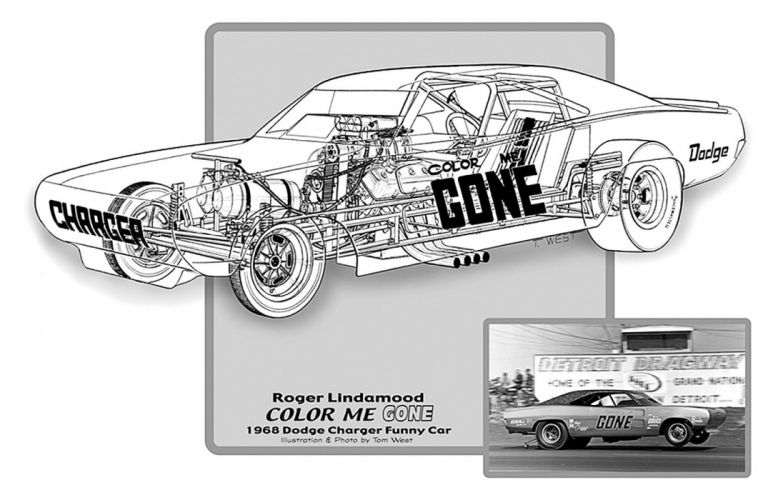 1968 Dodge Charger Funny Car Drag Cutaway USA -03 wallpaper
