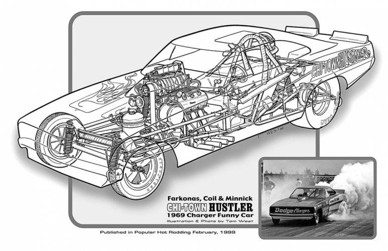 1969 Dodge Charger Funny Car Drag Cutaway USA -01 wallpaper