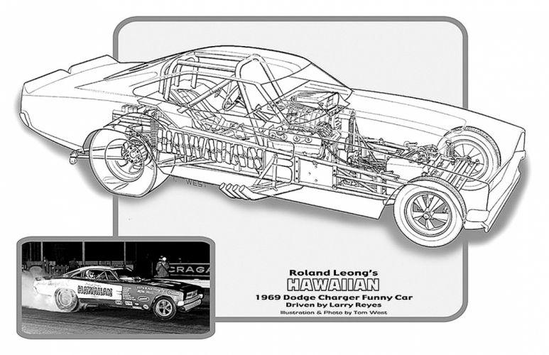 1969 Dodge Charger Funny Car Drag Cutaway USA -02 wallpaper