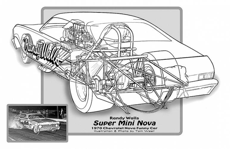 1970 Chevrolet Chevy Nova Funny Car Drag Cutaway USA -01 wallpaper
