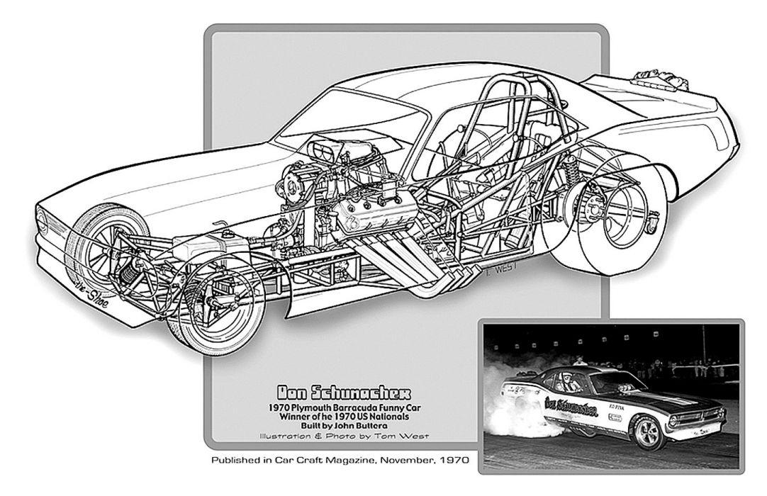 1970 Plymouth Barracuda Funny Car Drag Cutaway USA -01 wallpaper