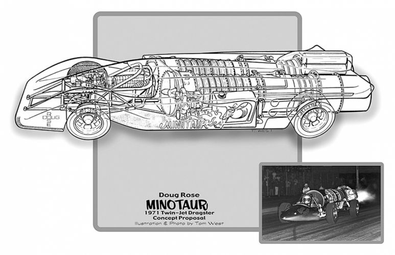 1971 Twin Jet Proposal Dragster Drag Cutaway USA -01 wallpaper