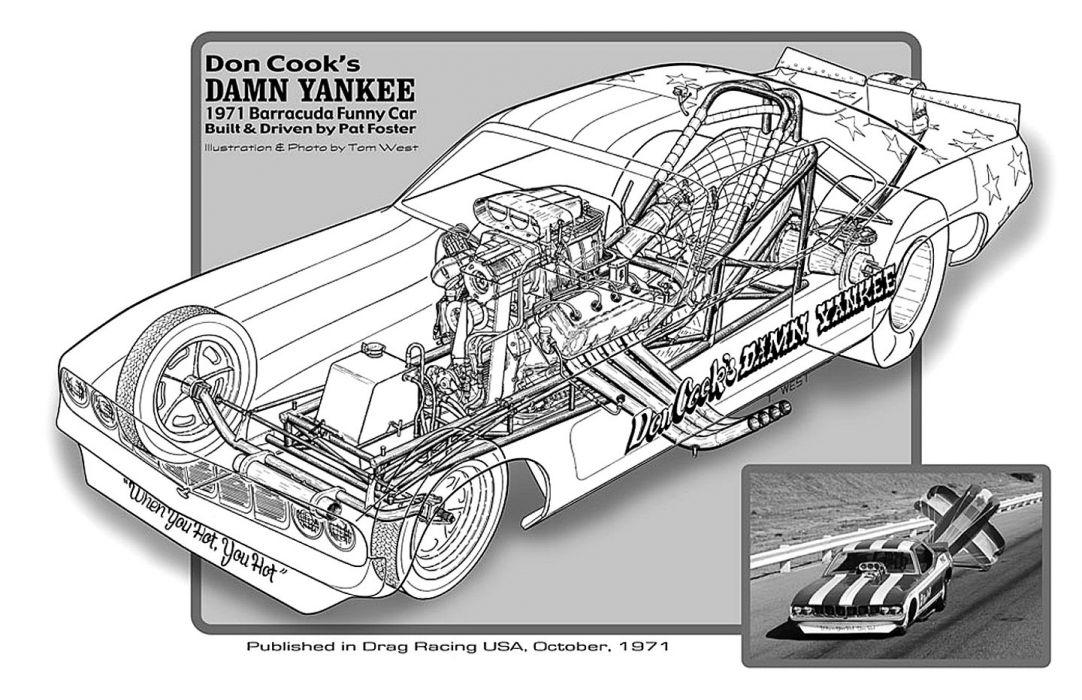 1971 Plymouth Barracuda Funny Car Drag Cutaway USA -02 wallpaper
