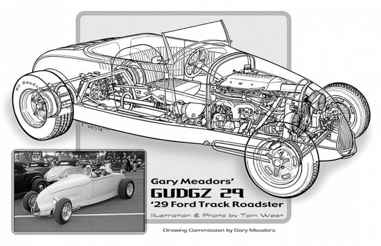 1929 Ford Track Roadster Cutaway Hotrod Hot Rod USA -01 wallpaper