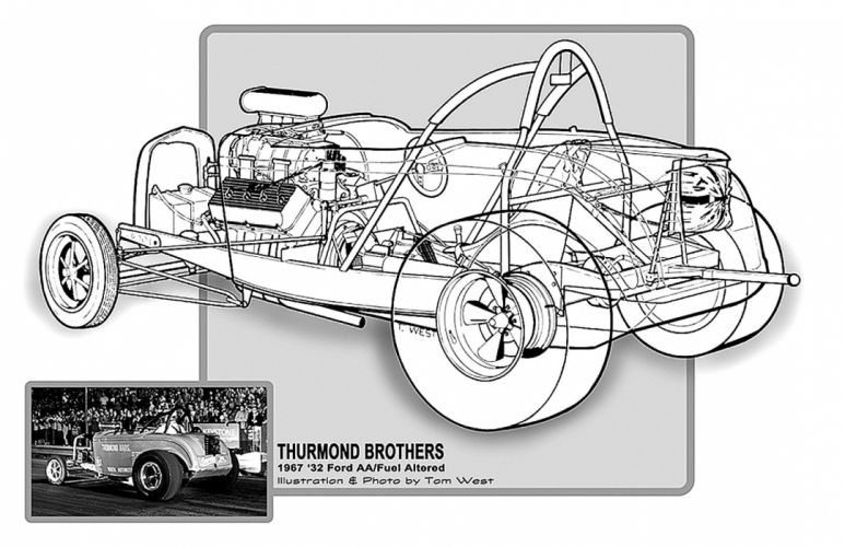 1932 Ford Roadster AA Fuel Altered Drag Cutaway USA -01 wallpaper