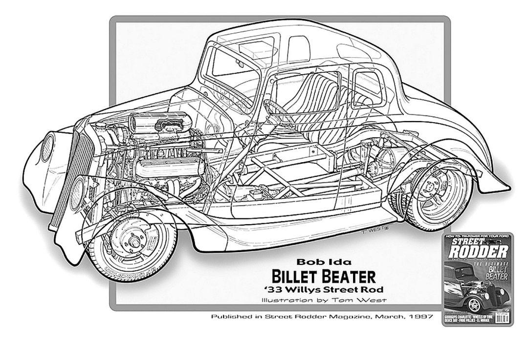 1933 Willys Streetrod Street Rod Hot Cutaway USA -01 wallpaper