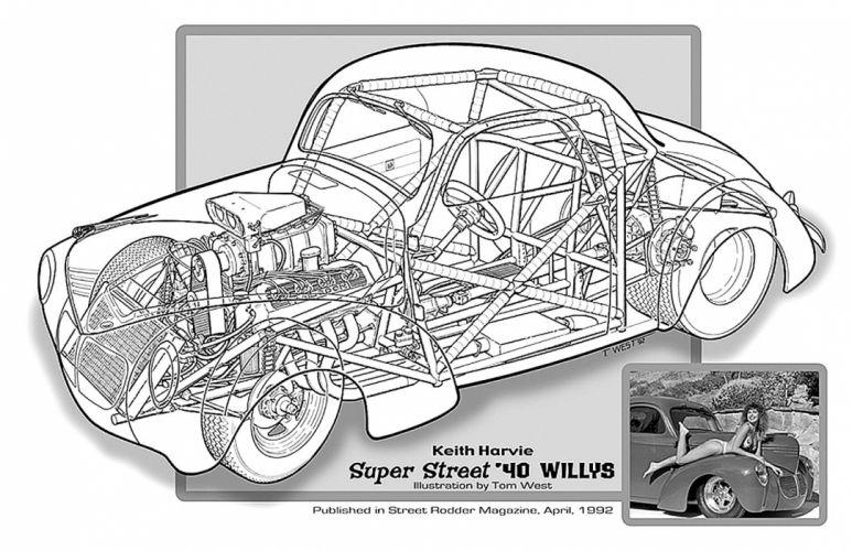 1940 Willys Super Street Drag Cutaway USA -01 wallpaper