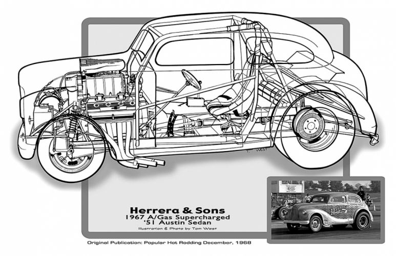 1951 Austin Sedan A-Gas Supercharged Drag Cutaway USA -01 wallpaper