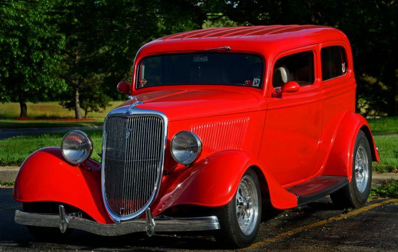 1934 Ford Tudor Sedan Two Door Streetrod Street Rod Hot USA -01 wallpaper