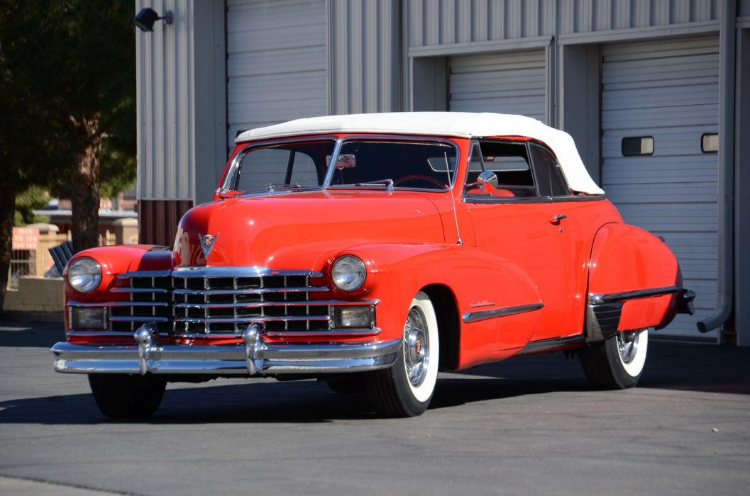 1947 Cadillac Serie 63 Convertible Classic Old Vintage Retro Red USA 2400x1590-02 wallpaper