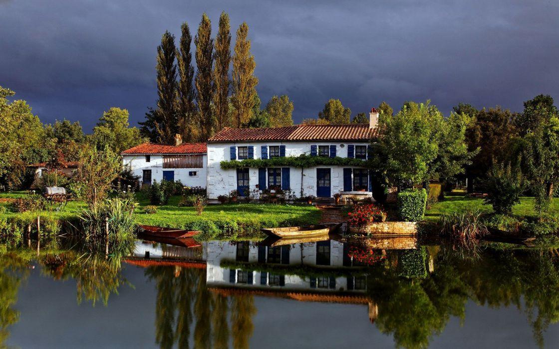 casa lago naturaleza wallpaper