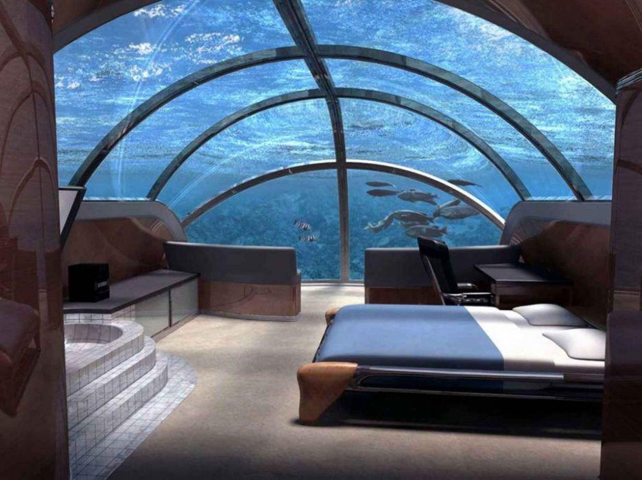 habitacion acuario cama wallpaper