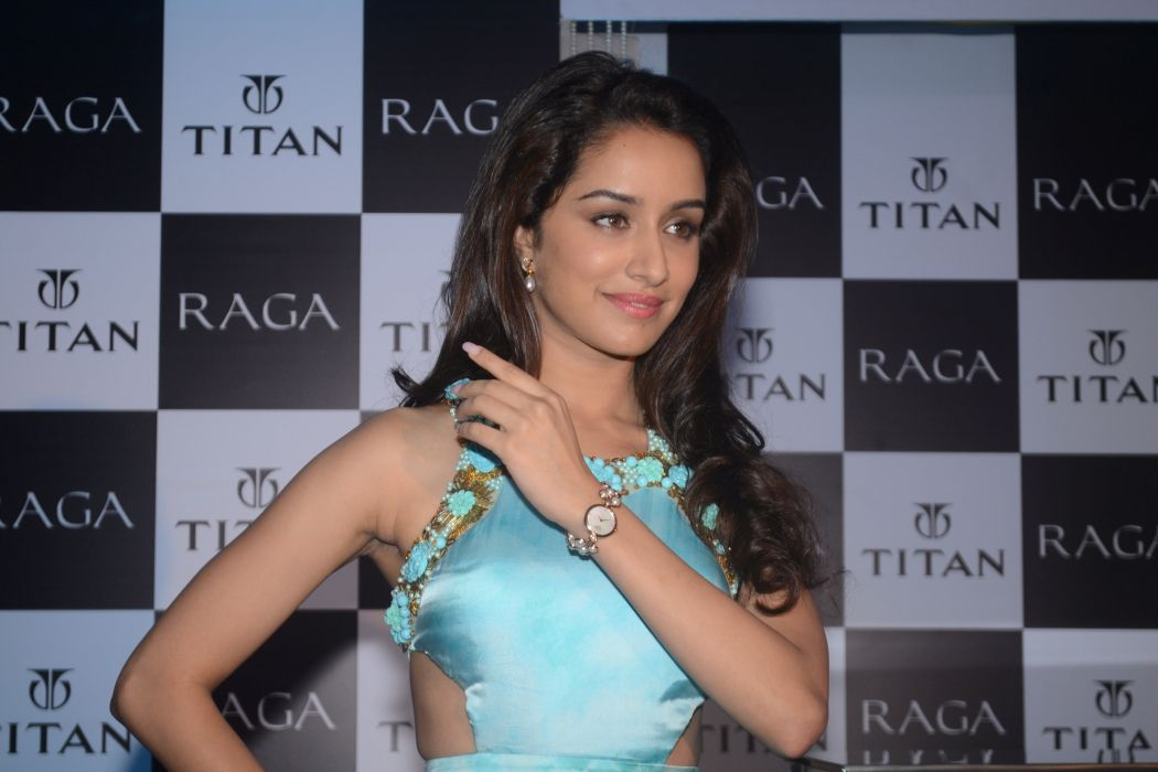 Indian Celebrity Shraddha Kapoor Launches The Exquisite Raga Pearls Titan Watche in Sky Blue Top HD Photo wallpaper