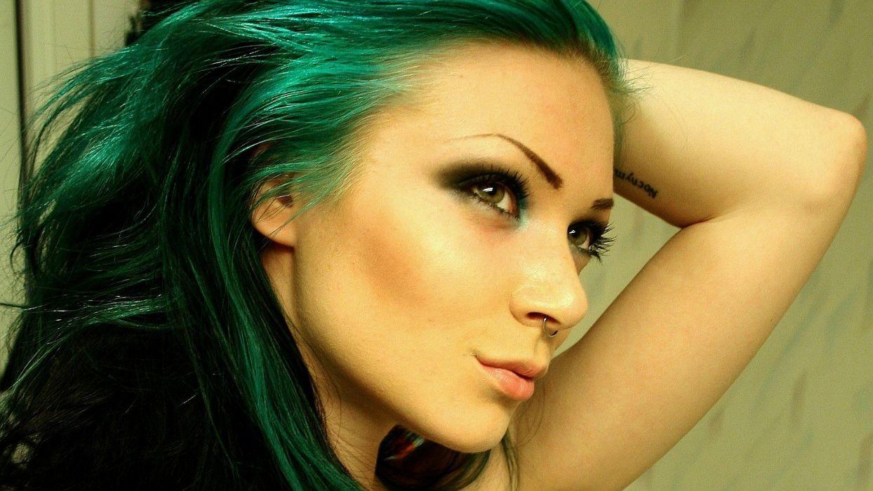 Green hair wallpaper