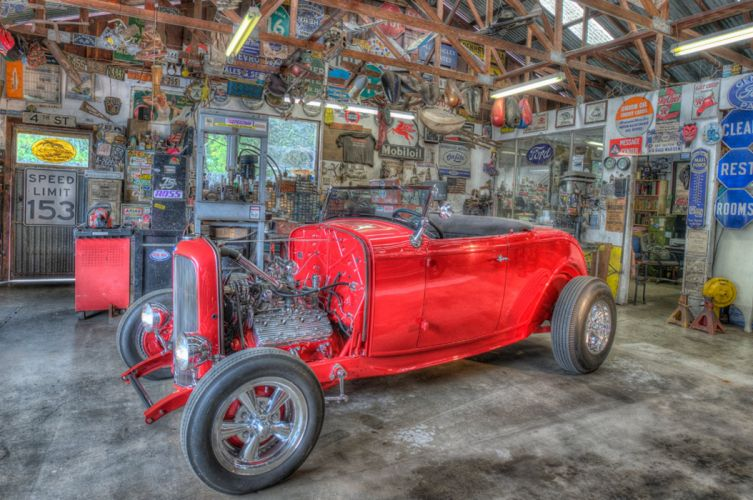 1932 Ford Roadster Hot Rod Hotrod Hightboy Red USA -01 wallpaper