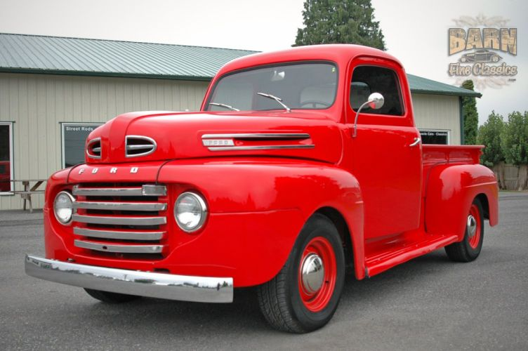 1948 Ford F1 Pickup Red Classic Old Vintage USA 1500x1000-06 wallpaper