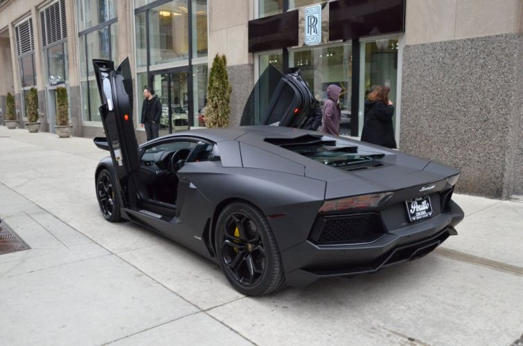 2012 Lamborghini Aventador coupe cars NERO PEGASO BLACK matt wallpaper