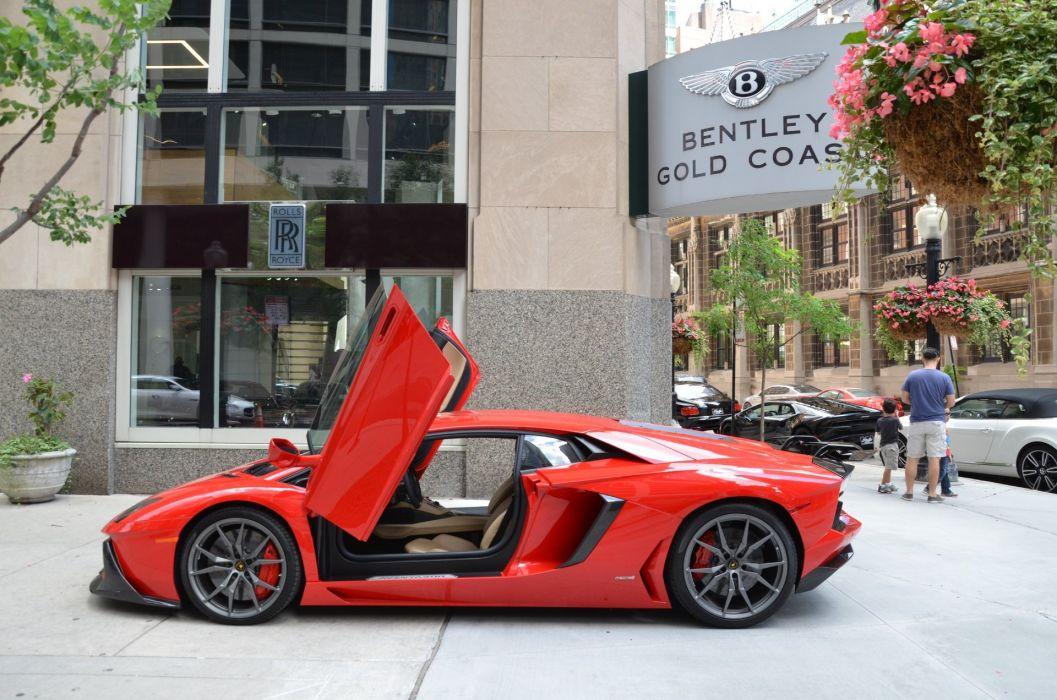 2014 Lamborghini Aventador coupe cars ROSSO MARS red wallpaper