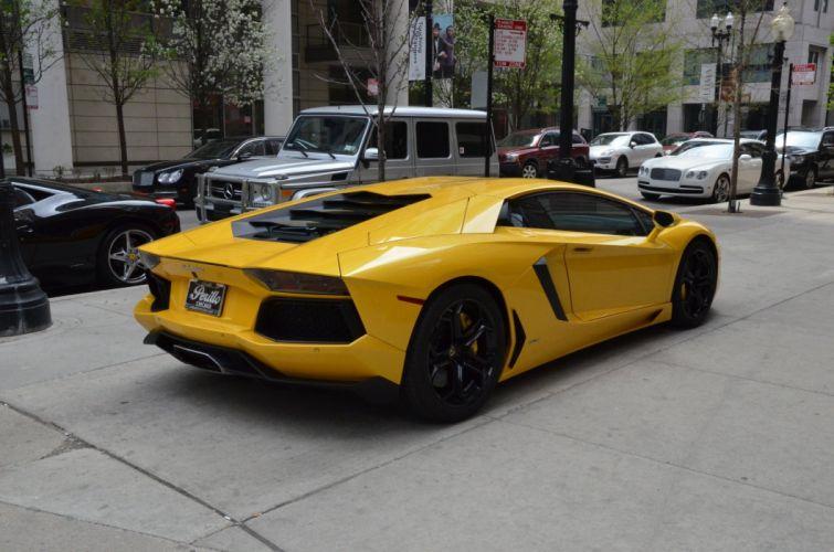 2014 Lamborghini Aventador coupe cars GIALLO ORION PEARL yellow wallpaper