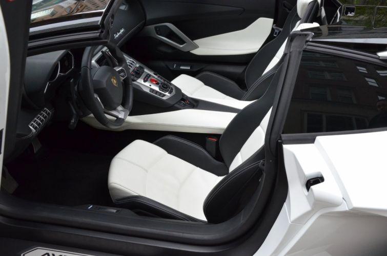 2014 Lamborghini Aventador Roadster cars BIANCO ISIS white wallpaper