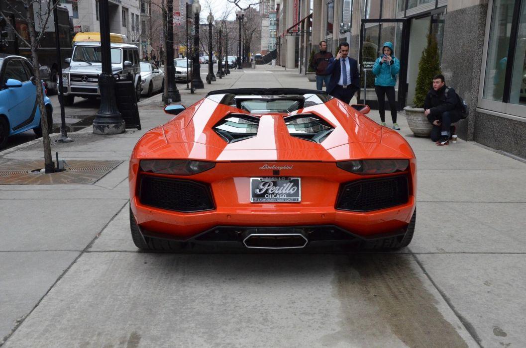 2014 Lamborghini Aventador Roadster cars ARANCIO ARGOS orange wallpaper