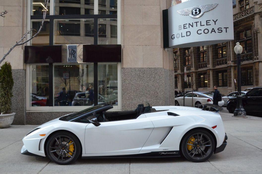 2012 LAMBORGHINI GALLARDO SPYDER LP570-4 SPYDER PERFORMANTE cars BIANCO MONOCEROUS SOLID COLOR WHITE wallpaper