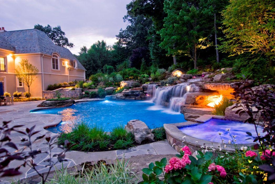 SWIMMING POOL architecture interior design summer swim wallpaper
