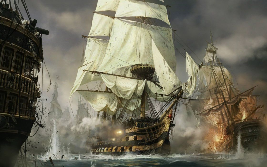 barcos guerra pintura arte wallpaper