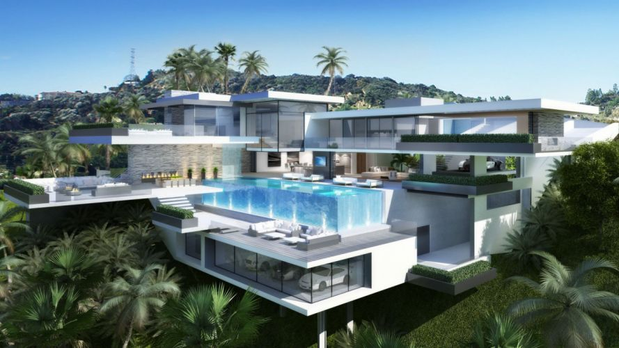 MANSION house building architecture interior design swimming pool wallpaper